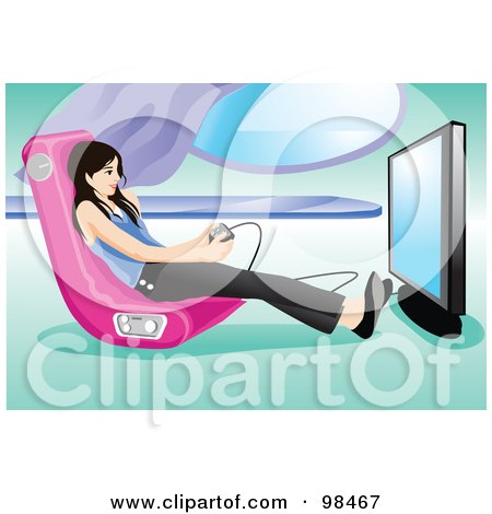 Royalty Free RF Clipart Illustration Of A Teen Girl Playing A Video Game In ...