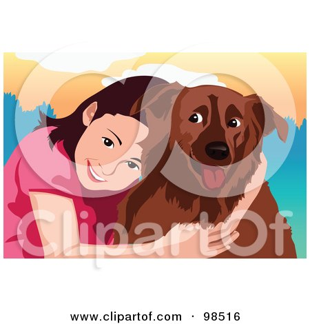 Royalty-Free (RF) Clipart Illustration of a Smiling Girl Hugging Her Dog by mayawizard101