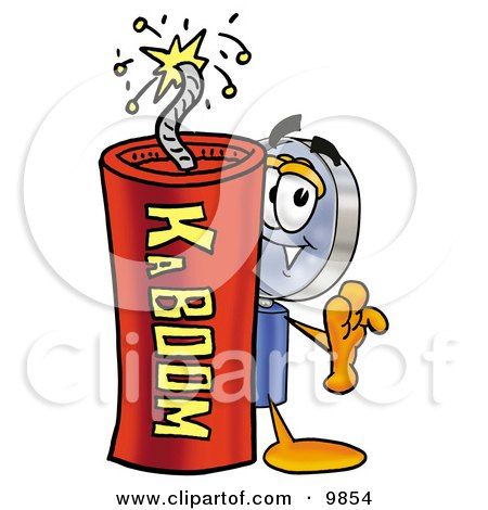 Clipart Picture of a Magnifying Glass Mascot Cartoon Character Standing With a Lit Stick of Dynamite by Toons4Biz