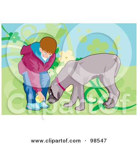 Royalty-Free (RF) Clipart Illustration of a Boy Taking A Ball From A Dog While They Play Fetch by mayawizard101