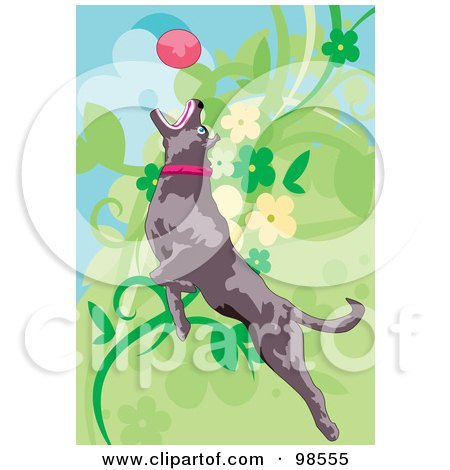 Royalty-Free (RF) Clipart Illustration of a Dog Fetching A Ball - 1 by mayawizard101