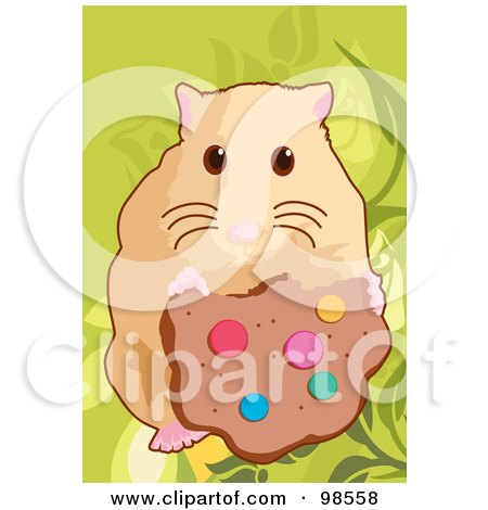 Royalty-Free (RF) Clipart Illustration of a Pet Hamster Eating A Cookie by mayawizard101