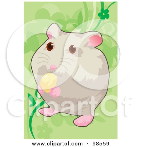 Royalty-Free (RF) Clipart Illustration of a Pet Hamster Nibbling On Food by mayawizard101