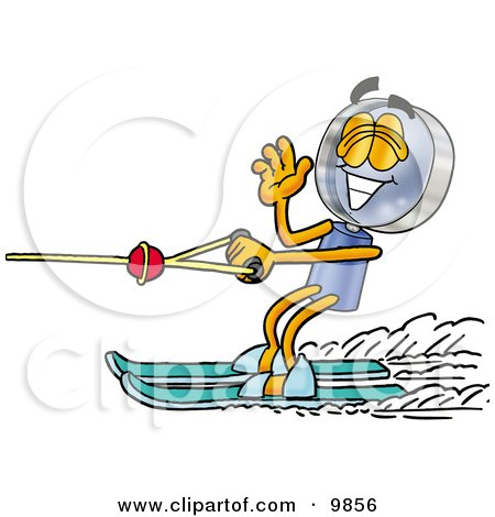 Clipart Picture of a Magnifying Glass Mascot Cartoon Character Waving While Water Skiing by Toons4Biz