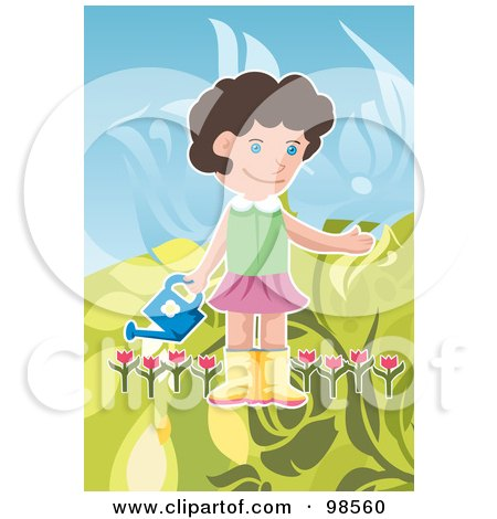 Royalty-Free (RF) Clipart Illustration of a Girl Carrying A Watering Can In A Tulip Garden by mayawizard101