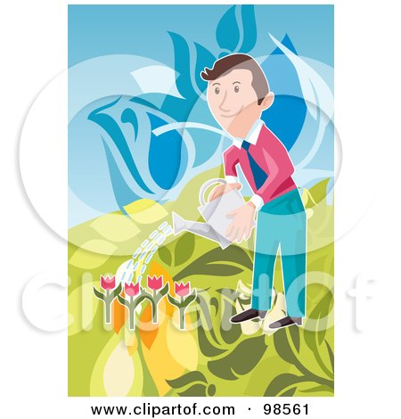Royalty-Free (RF) Clipart Illustration of a Happy Businessman Watering His Tulip Garden by mayawizard101