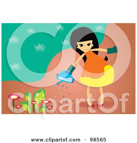 Girl Watering Flowers Clipart