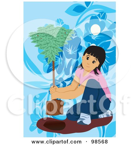 Royalty-Free (RF) Clipart Illustration of a Little Girl Planting An Arbor Day Tree by mayawizard101