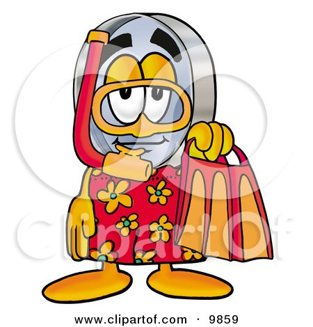 Magnifying Glass Mascot Cartoon Character in Orange and Red Snorkel Gear Posters, Art Prints