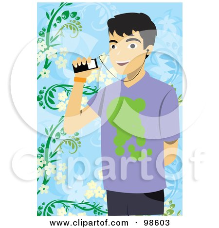 Royalty-Free (RF) Clipart Illustration of a Young Man Listening To Music Through His Cell Phone by mayawizard101