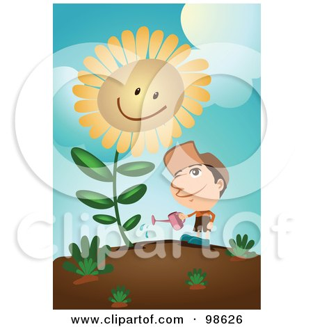 Royalty-Free (RF) Clipart Illustration of a Man Watering His Giant Sunflower by mayawizard101