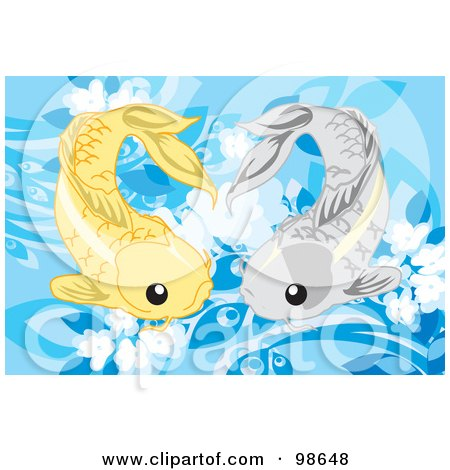 Royalty-Free (RF) Clipart Illustration of Two Swimming Koi Fish - 1 by mayawizard101