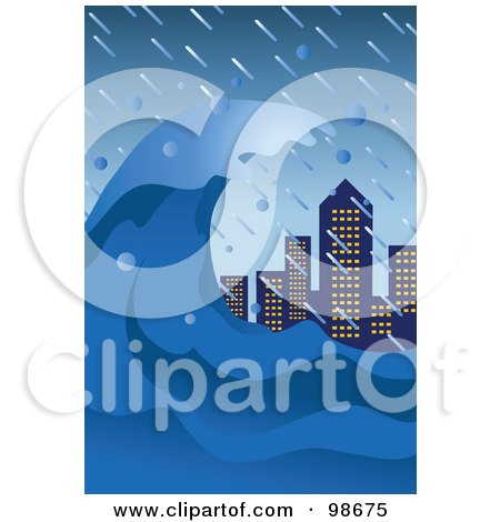 Royalty-Free (RF) Clipart Illustration of a Tsunami Wave Towering Over City Skyscrapers by mayawizard101