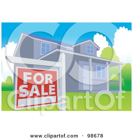 RoyaltyFree RF Clipart Illustration of a For Sale Sign By A