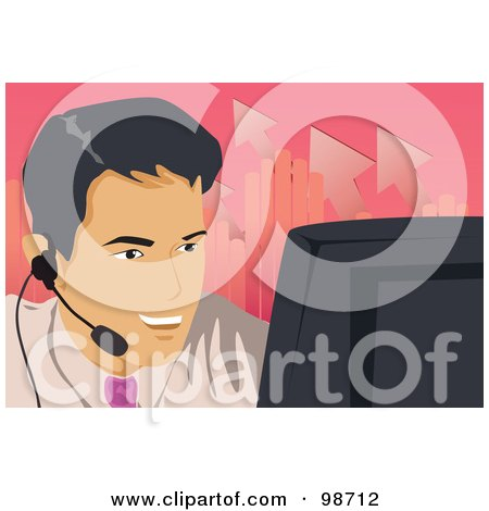 Royalty-Free (RF) Clipart Illustration of a Business Man Using A Computer And Talking On A Headset by mayawizard101