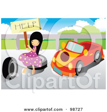 Royalty-Free (RF) Clipart Illustration of a Little Girl Holding A Help Sign By A Car by mayawizard101