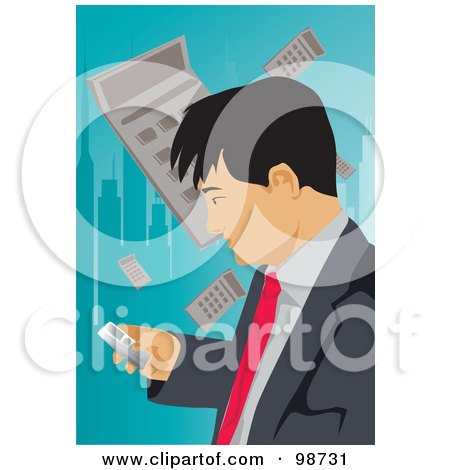 Royalty-Free (RF) Clipart Illustration of a Business Man Using A Cell Phone, With A Calculator Urban Background by mayawizard101