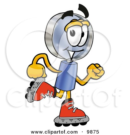 Clipart Picture of a Magnifying Glass Mascot Cartoon Character Roller Blading on Inline Skates by Toons4Biz