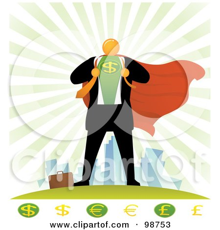 Royalty-Free (RF) Clipart Illustration of an Orange Faceless Businessman Super Hero With Currency Symbols by Qiun