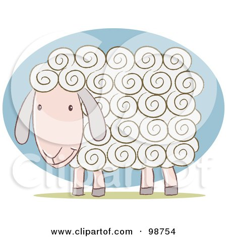 Royalty-Free (RF) Clipart Illustration of a White Sheep With Curly Hair by Qiun