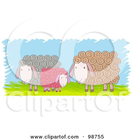 Royalty-Free (RF) Clipart Illustration of Three Colorful Sheep Over Grass by Qiun