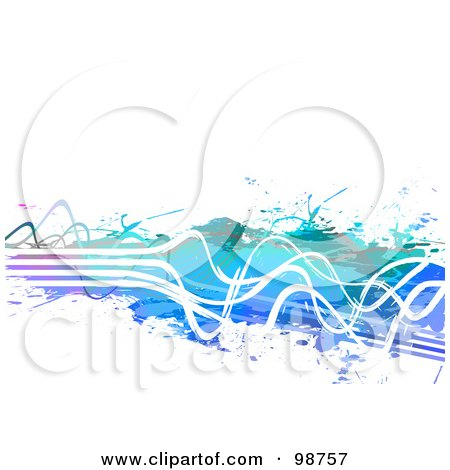 Royalty-Free (RF) Clipart Illustration of an Abstract Paint Splatter Background With Squiggly White Lines Over White by Arena Creative