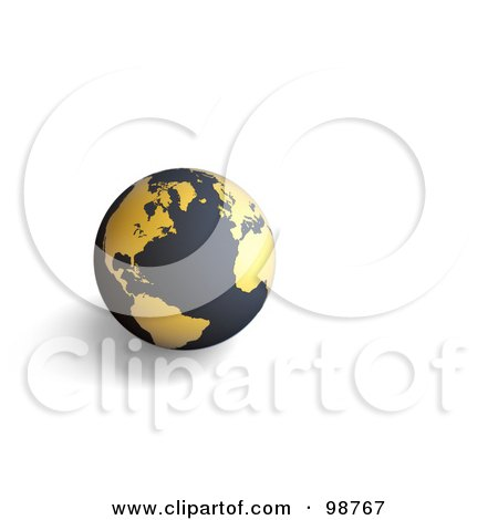 Royalty-Free (RF) Clipart Illustration of a 3d Matte Black And Golden Globe by chrisroll