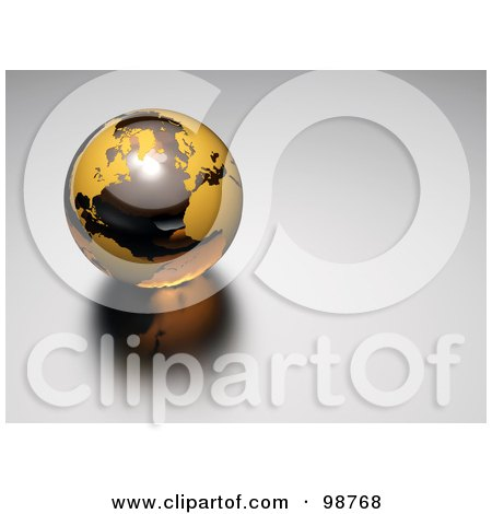 Royalty-Free (RF) Clipart Illustration of a 3d Amber And Orange Marble Globe by chrisroll