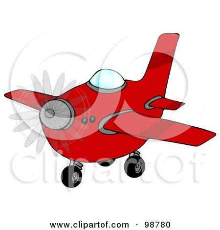 Royalty-Free (RF) Clipart Illustration of a Red Airplane With A Spinning Propeller by djart