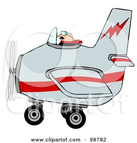 Royalty-Free (RF) Clipart Illustration of a Male Pilot Flying A Gray And Red Airplane by djart