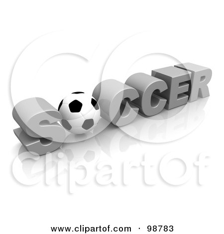 Royalty-Free (RF) Clipart Illustration of a 3d Soccer Ball As The O In The Word Soccer by 3poD