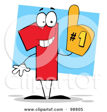 Royalty-Free (RF) Clipart Illustration of a Number 1 Character Wearing A Hand Glove by Hit Toon