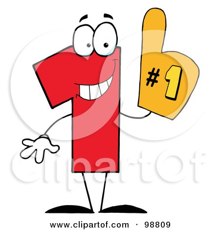 Royalty-Free (RF) Clipart Illustration of a Number One Character Wearing A Hand Glove by Hit Toon