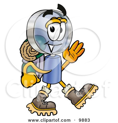 Magnifying Glass Mascot Cartoon Character Hiking and Carrying a Backpack Posters, Art Prints