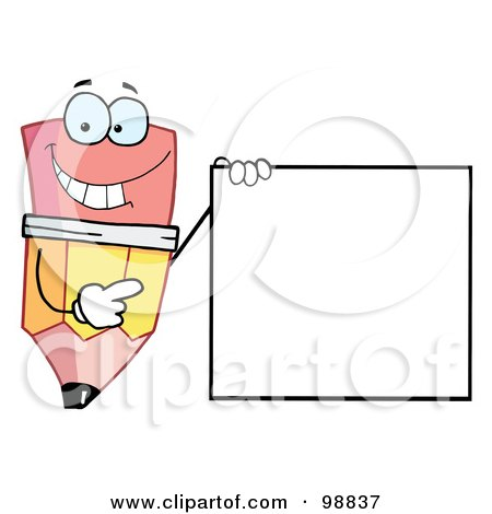 Royalty-Free (RF) Clipart Illustration of a Pencil Guy Holding A Blank Sign by Hit Toon