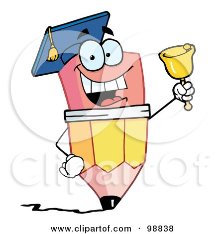 Royalty-Free (RF) Clipart Illustration of a Pencil Guy Graduate Ringing A Bell by Hit Toon