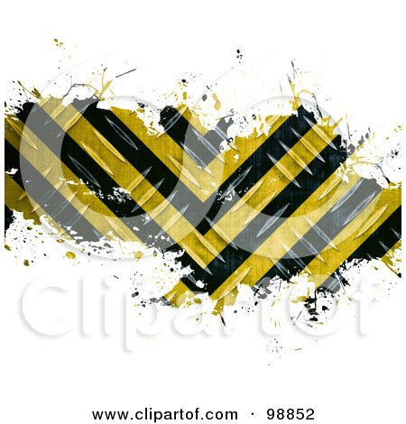 Royalty-Free (RF) Clipart Illustration of a Grungy Bar Of Diamond Plate Hazard Stripes Over White by Arena Creative
