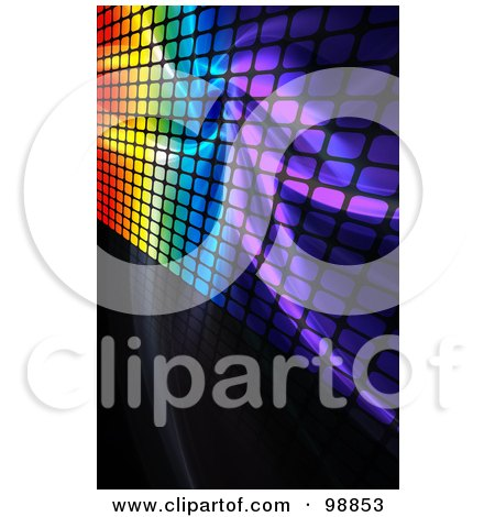 Royalty-Free (RF) Clipart Illustration of a Background Of Rainbow Fractals And Grid On Black by Arena Creative