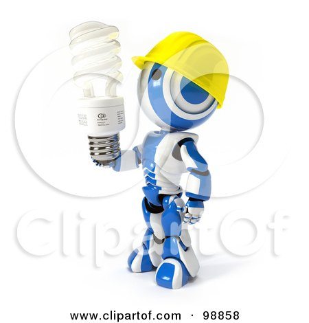 Royalty Free RF Clipart Illustration Of A 3d Ao Maru Robot Wearing A Hard Hat And Holding An Energy Efficient Light Bulb