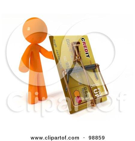 3d Orange Man Holding Up A Credit Card Trap Posters, Art Prints