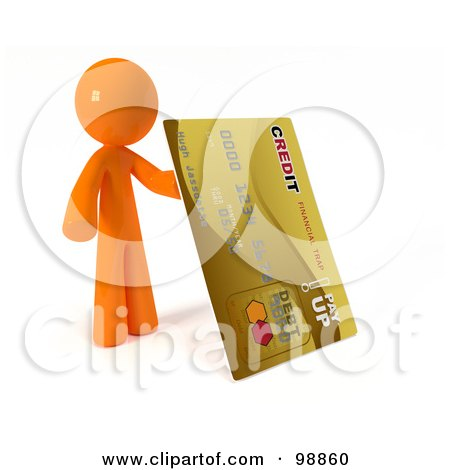 Royalty-Free (RF) Clipart Illustration of a 3d Orange Man Holding Up A Gold Credit Card by Leo Blanchette