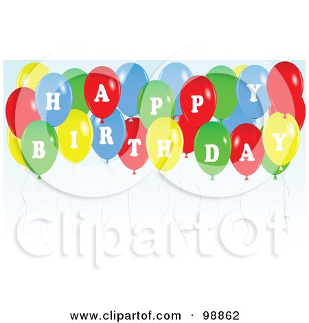 Royalty-Free (RF) Clipart Illustration of a Colorful Party Balloons Spelling Happy Birthday by tdoes