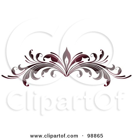 Royalty-Free (RF) Clipart Illustration of a Red Leafy Flourish Divider Design Element - 1 by OnFocusMedia