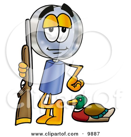 Clipart Picture of a Magnifying Glass Mascot Cartoon Character Duck Hunting, Standing With a Rifle and Duck by Toons4Biz