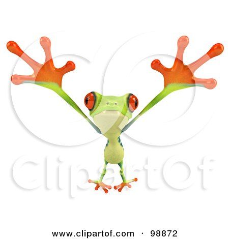 Royalty-Free (RF) Clipart Illustration of a 3d Argie Frog Facing Leaping Forward by Julos