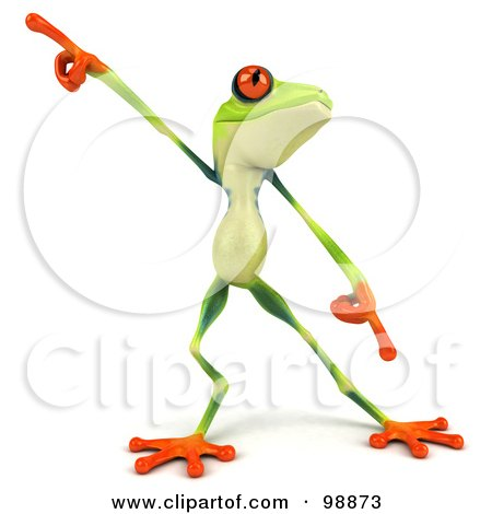 Royalty-Free (RF) Clipart Illustration of a 3d Argie Frog Facing Front And Dancing by Julos