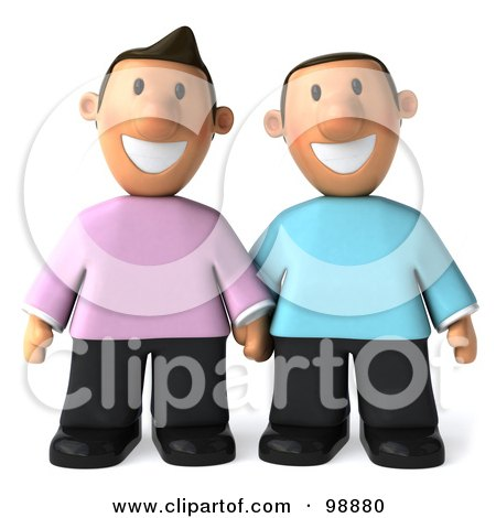 Royalty-Free (RF) Clipart Illustration of a 3d Happy Gay Couple Holding Hands And Facing Front by Julos