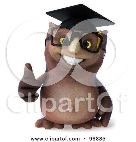 Royalty-Free (RF) Clipart Illustration of a 3d Owl Professor Holding a Thumb Up by Julos