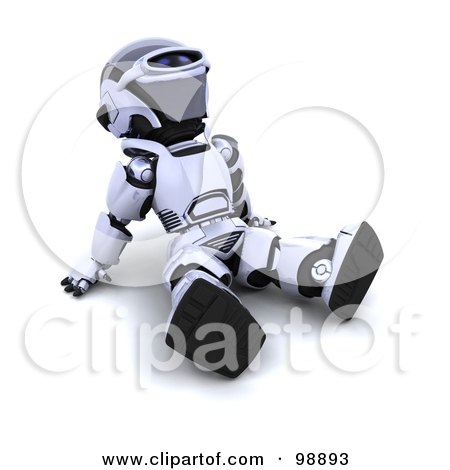 Royalty-Free (RF) Clipart Illustration of a 3d Silver Robot Sitting Back And Looking Up by KJ Pargeter