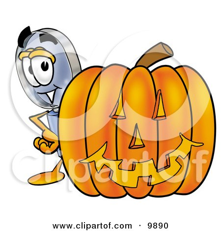 Clipart Picture of a Magnifying Glass Mascot Cartoon Character With a Carved Halloween Pumpkin by Toons4Biz